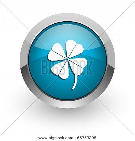 four-leaf clover blue glossy web icon