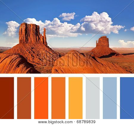 The iconic Mitten Butte rock formations of Monument Valley, in a colour palette with complimentary swatches