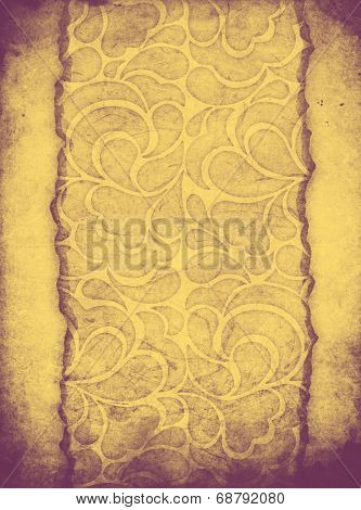 Shabby paper with ornament with cracked paper sheet