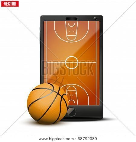 Smartphone With Basketball Ball And Field On The Screen.
