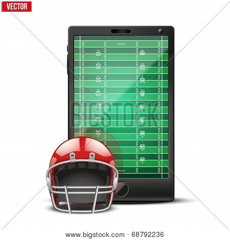Smartphone With American Football Ball And Field On The Screen.