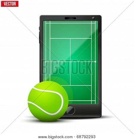 Smartphone with american tennis ball and field on the screen.