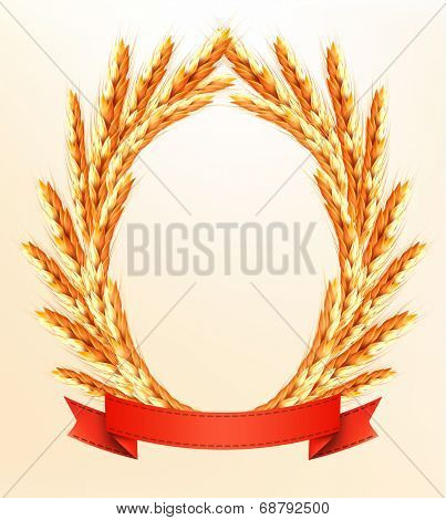 Ripe yellow wheat ears with red ribbons.