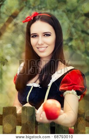 Snow White Holding a Red Apple Fairy Tale Portrait