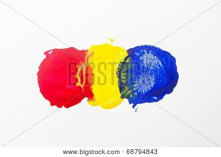 Three Spots Of Primary Color Isolate On White Background.