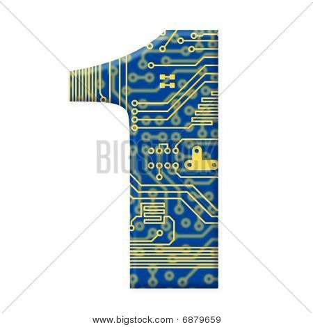 Digit From Electronic Circuit Board Alphabet On White Background - 1