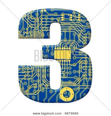Digit From Electronic Circuit Board Alphabet On White Background - 3