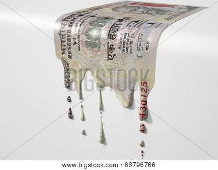 Indian Rupee Melting Dripping Banknote