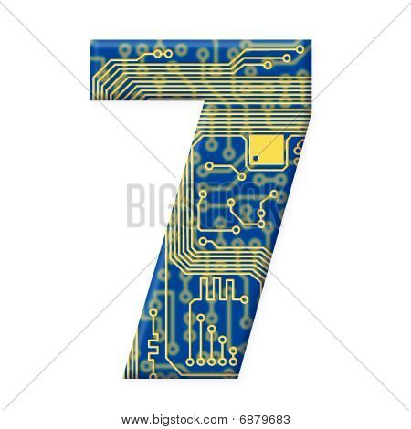 Digit From Electronic Circuit Board Alphabet On White Background - 7