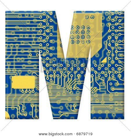 Letter From Electronic Circuit Board Alphabet On White Background - M