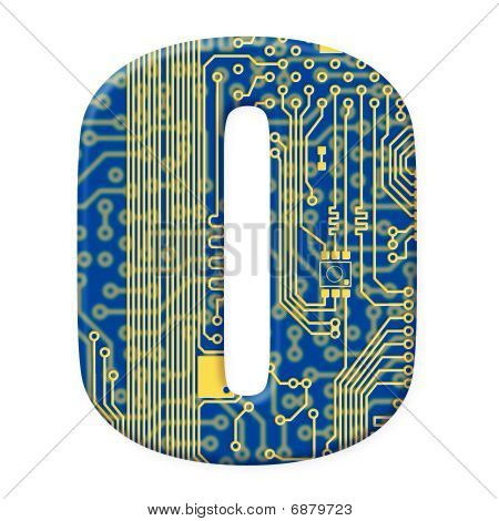 Letter From Electronic Circuit Board Alphabet On White Background - O