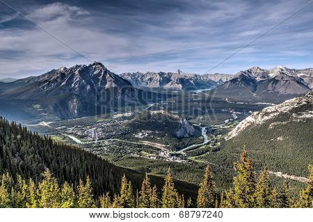 Aerial View Of Banff From Atop Sulphur Mountain