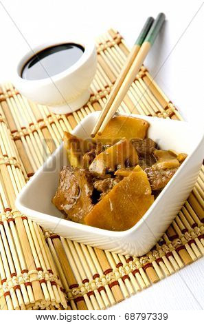 Beef with bamboo and shitake, chinese mushrooms, traditional chinese dish