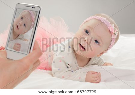 Six month old caucasian baby girl