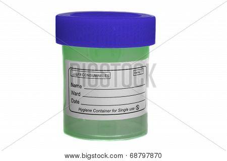 Blue Green Sample Specimen Container