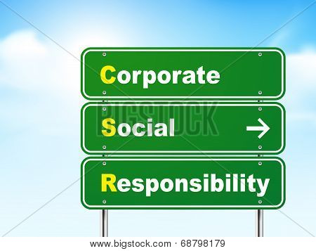 3D Corporate Social Responsibility Road Sign
