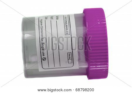 Pink White Specimen Collection Container