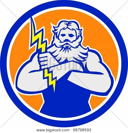 Zeus Greek God Arms Cross Thunderbollt Circle Retro