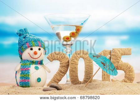 Cocktail, snowman and New year sign