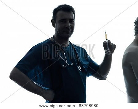 one  man doctor surgeon medical worker holding hypodermic syringe silhouette isolated on white background