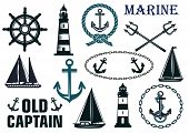 foto of marines  - Marine heraldic elements set with anchors - JPG