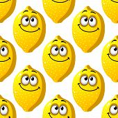 picture of googly-eyes  - Seamless background pattern of smiling yellow cartoon lemons with googly eyes in square format for wallpaper or textile design - JPG