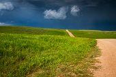 stock photo of thunder-storm  - seasonal thunder storms building up in South Dakota - JPG