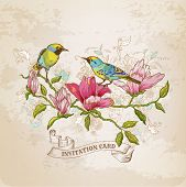 Vintage Card - Flowers and  Birds - for design and scrapbook in vector poster