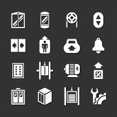 stock photo of elevator icon  - Set icons of elevator and lift isolated on black - JPG
