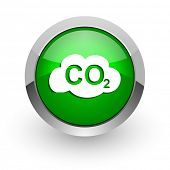picture of carbon-dioxide  - carbon dioxide green glossy web icon - JPG
