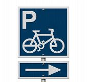 image of letter p  - Bike Parking Sign An blue road sign with bike icon letter P and arrow isolated on white - JPG