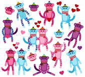 image of sock-monkey  - Vector Collection of Valentine - JPG