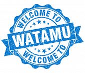 image of watamu  - welcome to Watamu blue vintage isolated seal - JPG