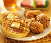 stock photo of southern fried chicken  - fried chicken and waffles with watermelon  - JPG