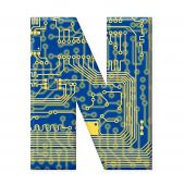 Letter From Electronic Circuit Board Alphabet On White Background - N