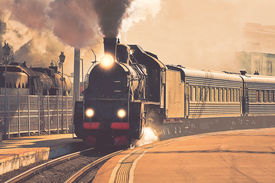 image of train-wheel  - Vintage image of the departure of the retro steam train - JPG