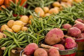 pic of solanum tuberosum  - Fresh organic produce on sale at the local farmers market - JPG