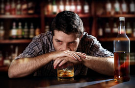 foto of addicted  - lonely young alcoholic drunk man depressed - JPG