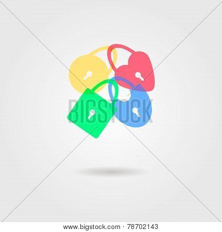 Icon Of Transparent Padlocks With Shadow