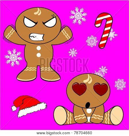 angry and inlove gingerman cartoon xmas set