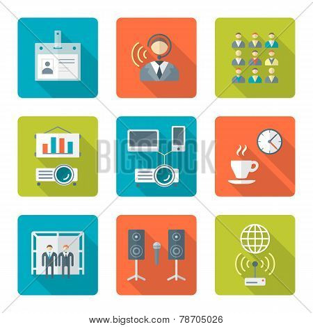 flat style conference presentation icons set