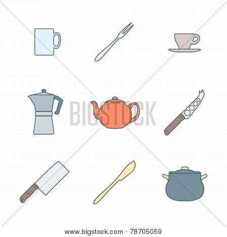 color outline dinnerware icons set
