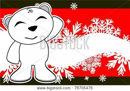 smyling polar bear cartoon xmas background