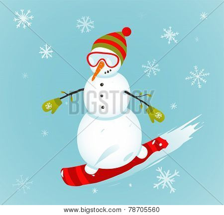 Snowman and Snowboard Winter Sport Illustration