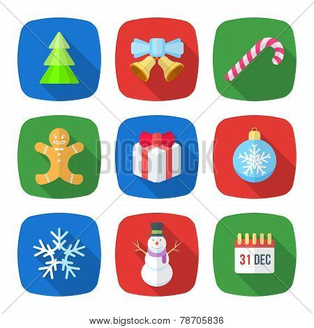 christmas flat style colored icons