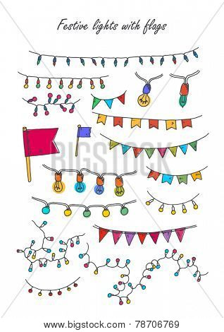 Vector illustration. Strings of holiday lights and birthday flags white background