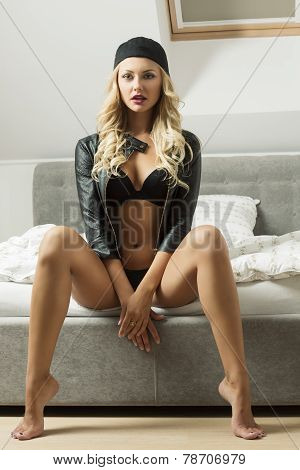 Sexy Girl On Bed With Sport Cap