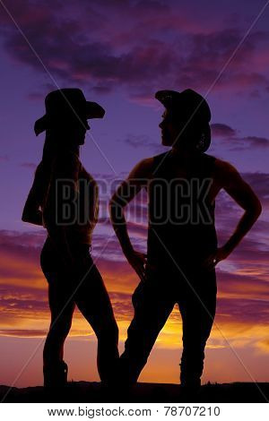 Silhouette Of Cowboy With Hands On His Hips Look Side