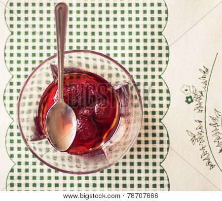 Dessert with woodland strawberries. Vintage/Retro style.