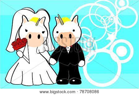 unicorn married cartoon background